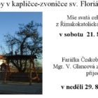 Bohoslužby v kapličce-zvoničce sv. Floriána v Jílovišti